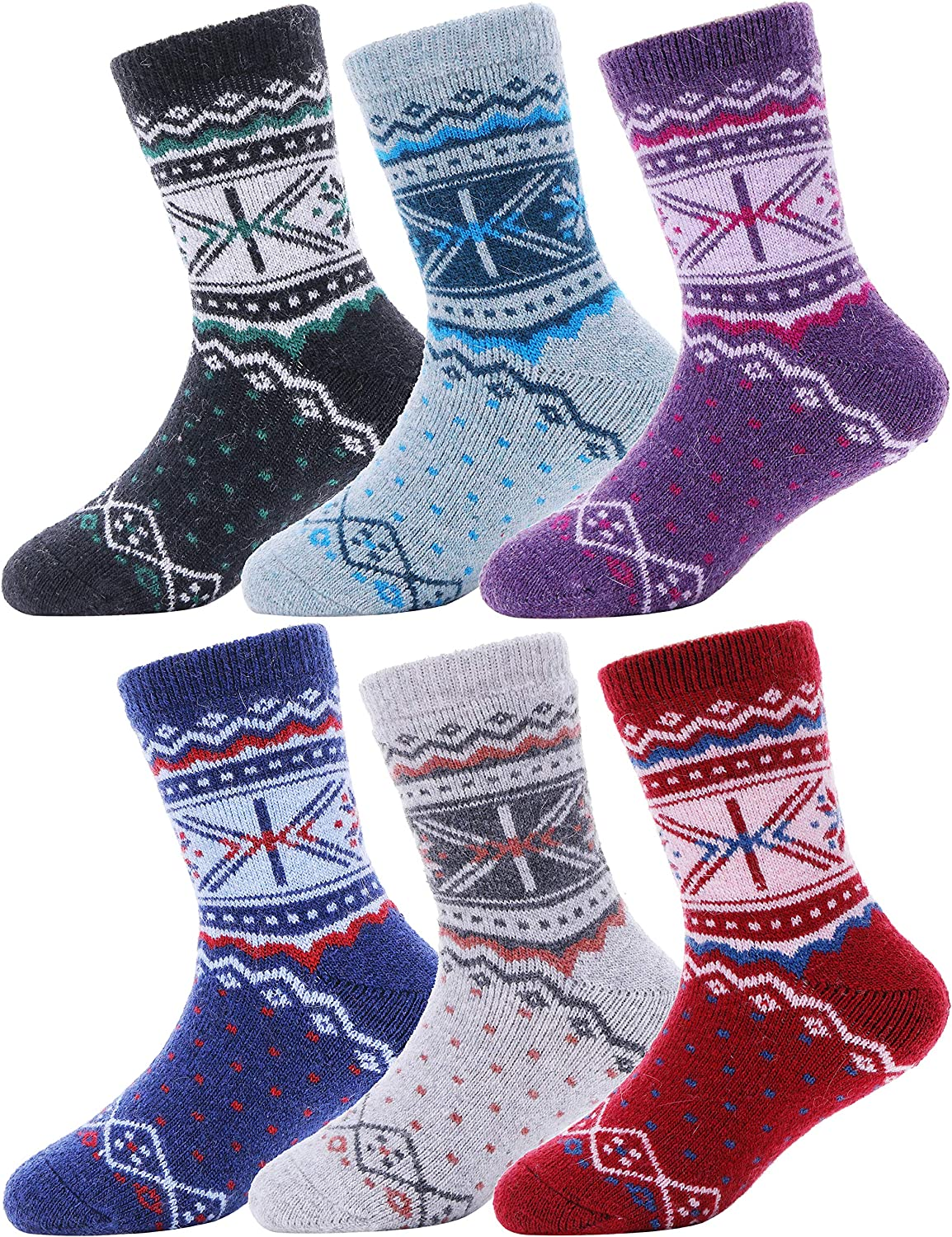 Kids Girls Boys Wool Socks Thick Warm Thermal For Kid Child Toddlers Cotton Winter Snowflake Socks 6 Pairs