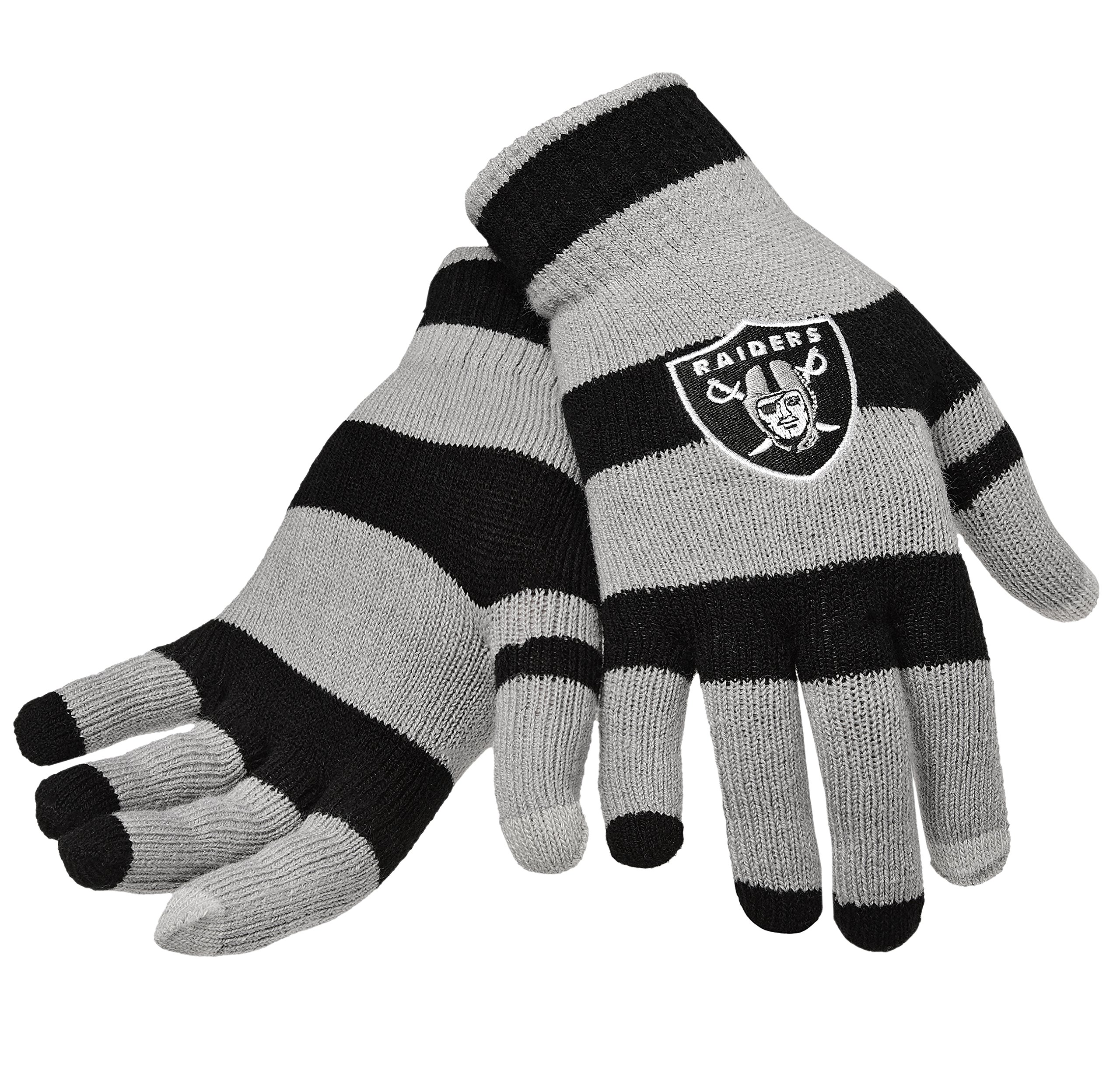 Official NFL Football Licensed Knit Stripe Glove with Texting Tips, One Size, OAKLAND RAIDERS