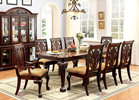 247SHOPATHOME Idf 3185T 9PC Dining Room Sets, 9 Piece Set