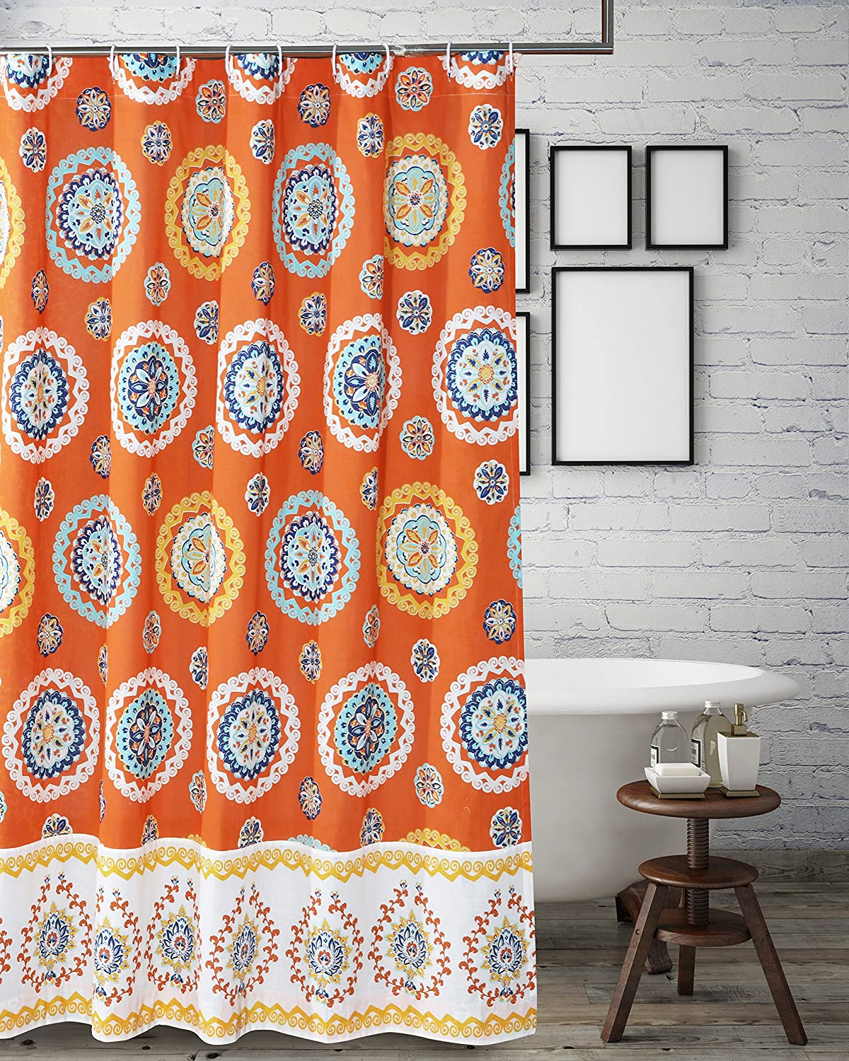 Barefoot Bungalow Rosario Shower Curtain One Size Tangerine Greenland Home Fashions GL-1712BSHW