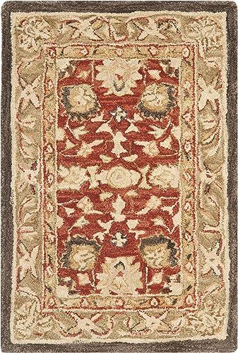 Safavieh Anatolia Collection AN512G Handmade Traditional Oriental Rust and Green Premium Wool Area Rug 2' x 3'