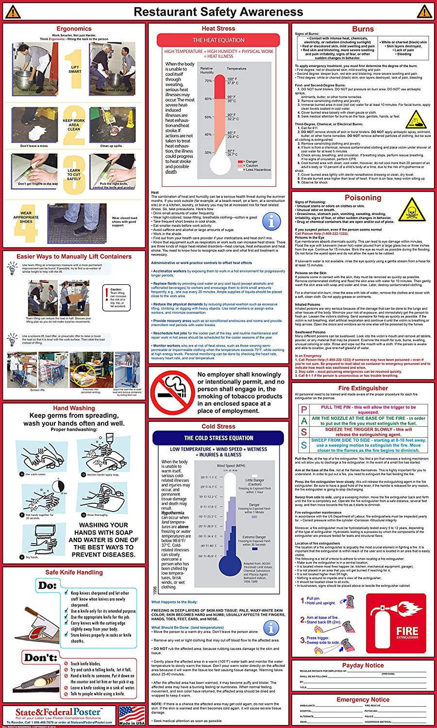 "Restaurant Safety Awareness Poster - Laminated 24"" x 40"""