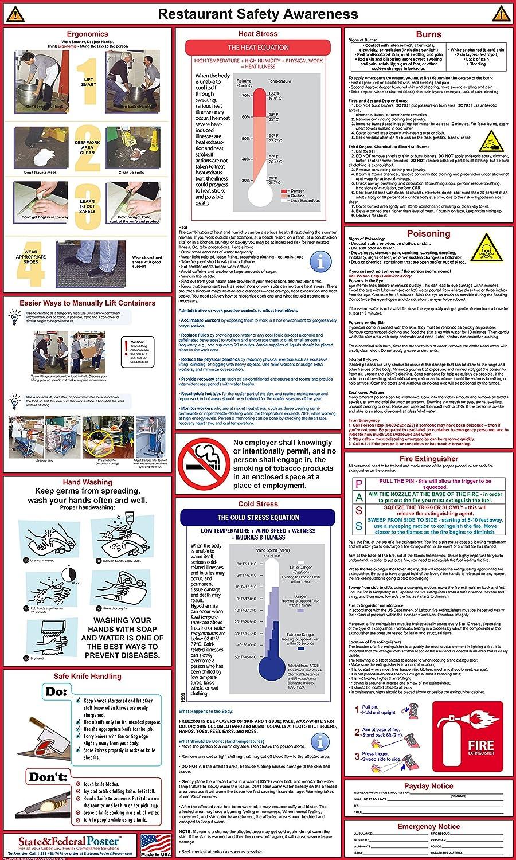 "Restaurant Safety Awareness Poster - Laminated 24"" x 40"""