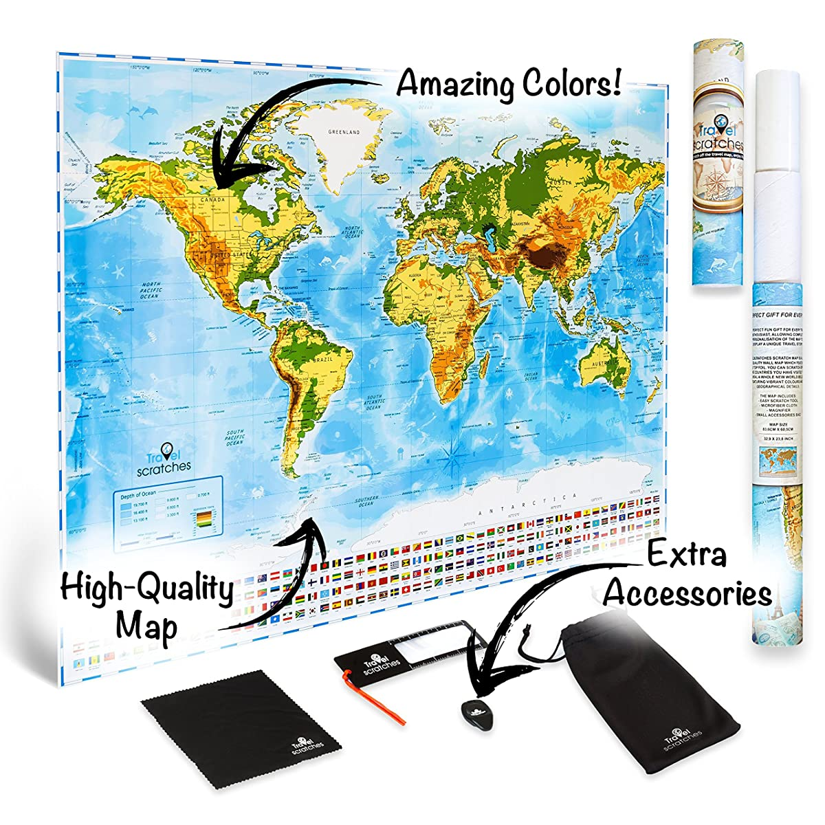 Scratch Off World Map Travel Poster - US States & Country Flags. Deluxe Personalized Tracker Memory Map. Scratcher Included. Perfect Traveler Gift, Blue & Gold Edition By Travelscratches