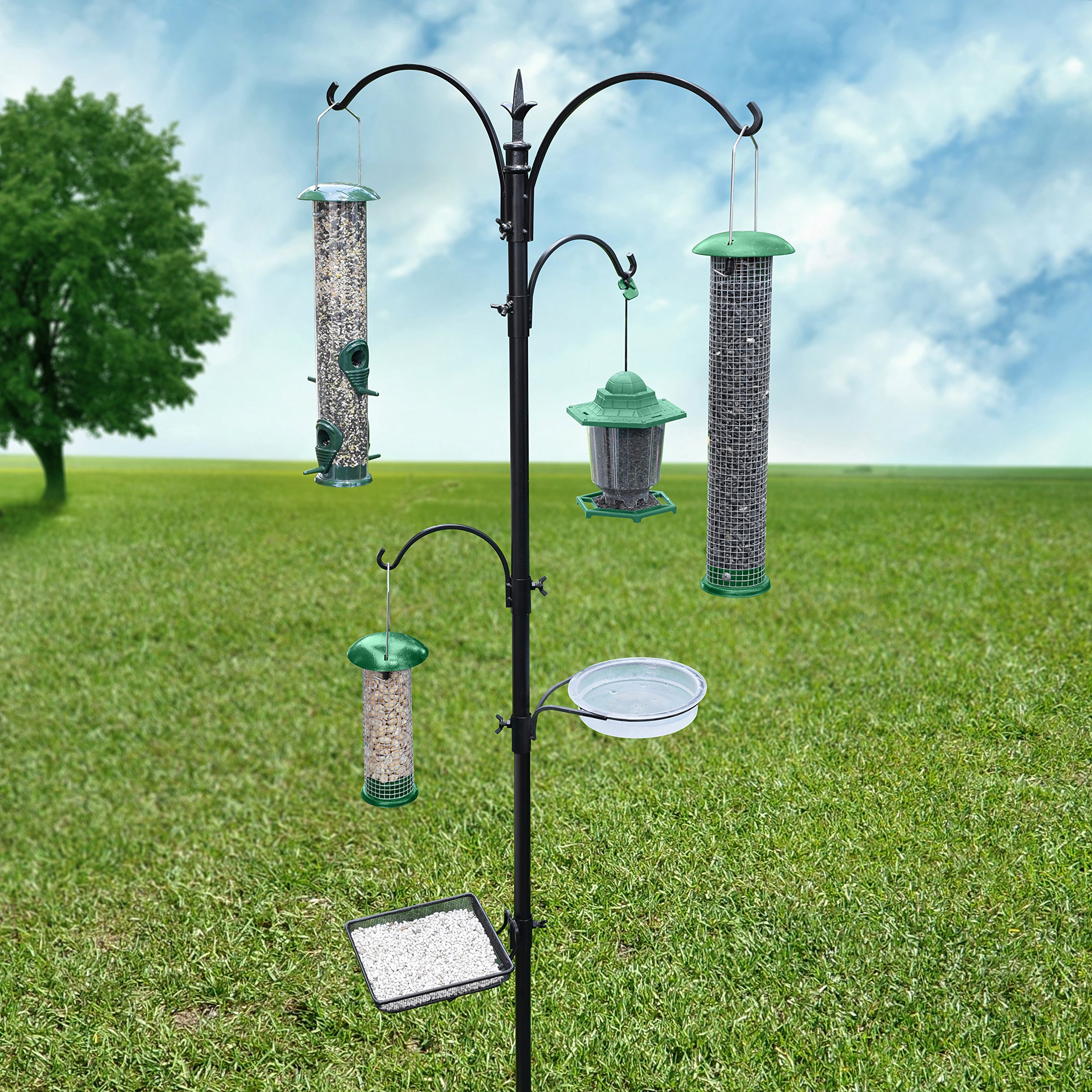 Gray Bunny GB-6844D Deluxe Premium Bird Feeding Station, 22'' Wide x 91'' Tall (82 inch above ground) Black, Multi Feeder Hanging Kit & Bird Bath For Attracting Wild Birds, Birdfeeder & Planter Hanger by Gray Bunny (Image #7)