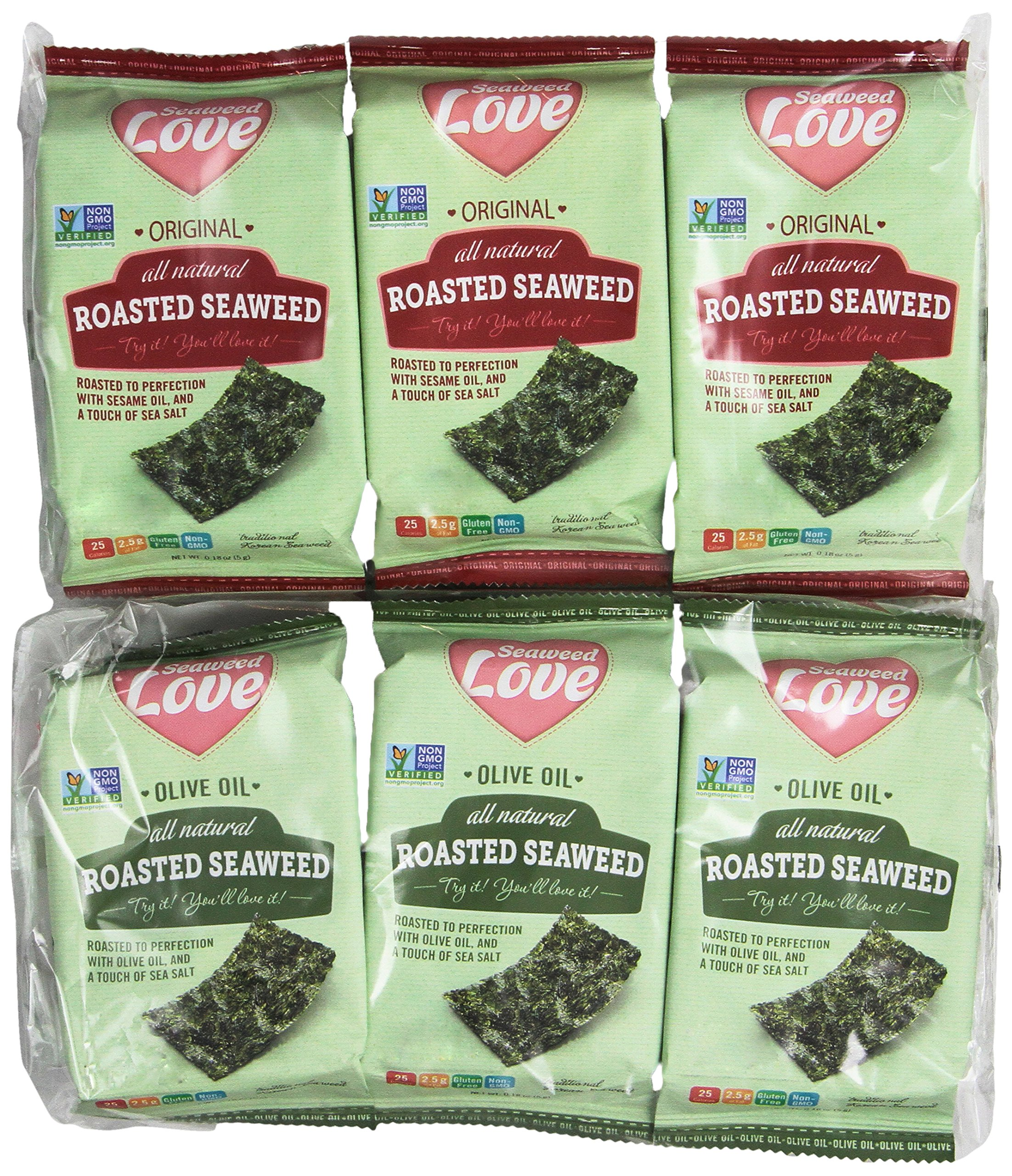 Seaweed Love All Natural Roasted Seaweed Variety Pack, Original and Olive Oil, 0.18 Ounce (Pack of 24) by Seaweed Love