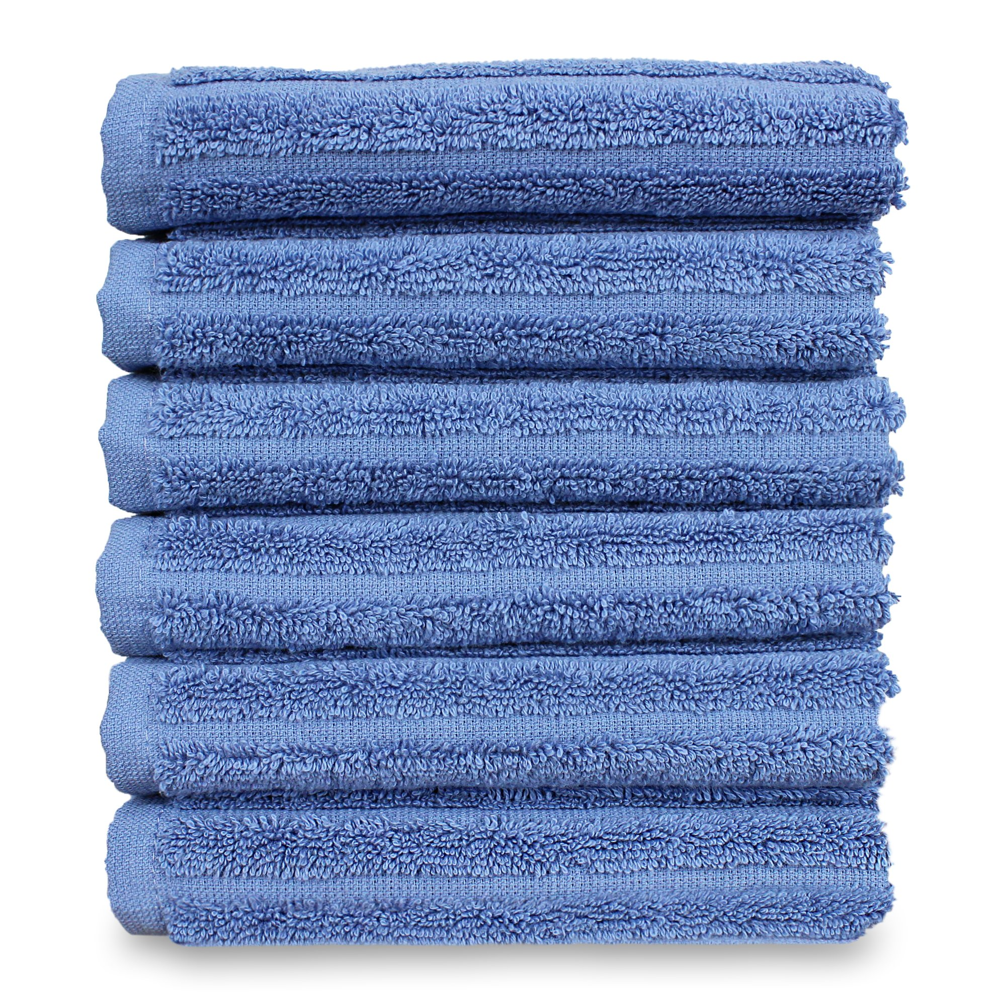 Luxury Hotel & Spa Towel Turkish Cotton Washcloths - Wedgewood - Striped - Set of 6