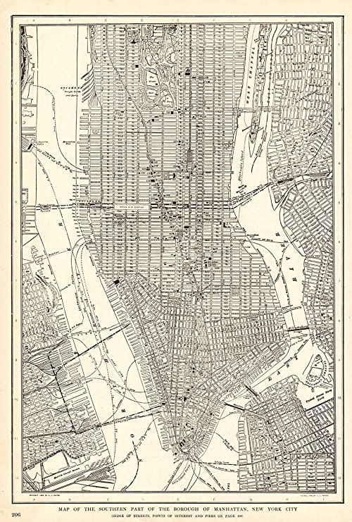 1925 Pictorial Bird/'s eye view Map of New York City Wall Art Poster Print Decor
