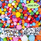 EpiqueOne Huge 2100 Pieces Pom Poms for Crafts Including 100 Colored Googly Eyes. Vivid Multicolor Glitter Pompoms Pink, Red,