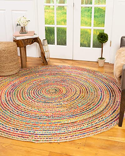 Natural Area Rugs 100 Natural Fiber Handmade Rialto, Multi Cotton Jute Rug, 8 Round