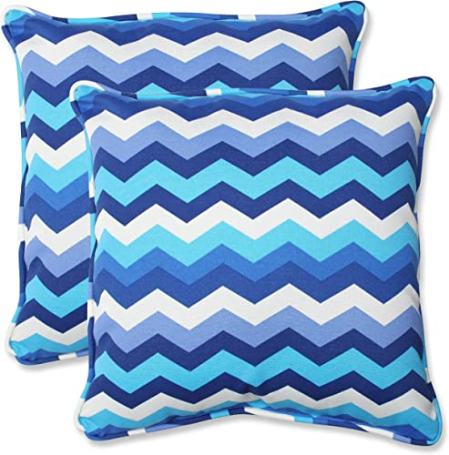 Pillow Perfect Outdoor Indoor Panama Wave Azure Throw Pillows, 18.5 x 18.5 , Blue, 2 Pack