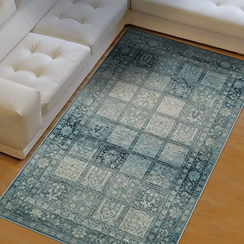 Superior Dexter Collection Area Rug, 10mm Pile Height with Jute Backing, Fashionable and Affordable Rugs, Distressed Vintage Persian Rug Design – 4 x 6