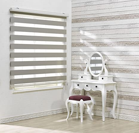 Zebra Roller Blinds Dual Layer Shades Sheer or Privacy Light Control Winsharp Basic, White, W 100 x H 103 inch 20 to 110 inch Wide Custom Cut to Size, Day and Night Window Drapes