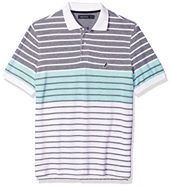 fdb3594187f Nautica Men's Short Sleeve Colorblock Cotton Oxford Pique Polo Shirt, Mint  Spring, Small