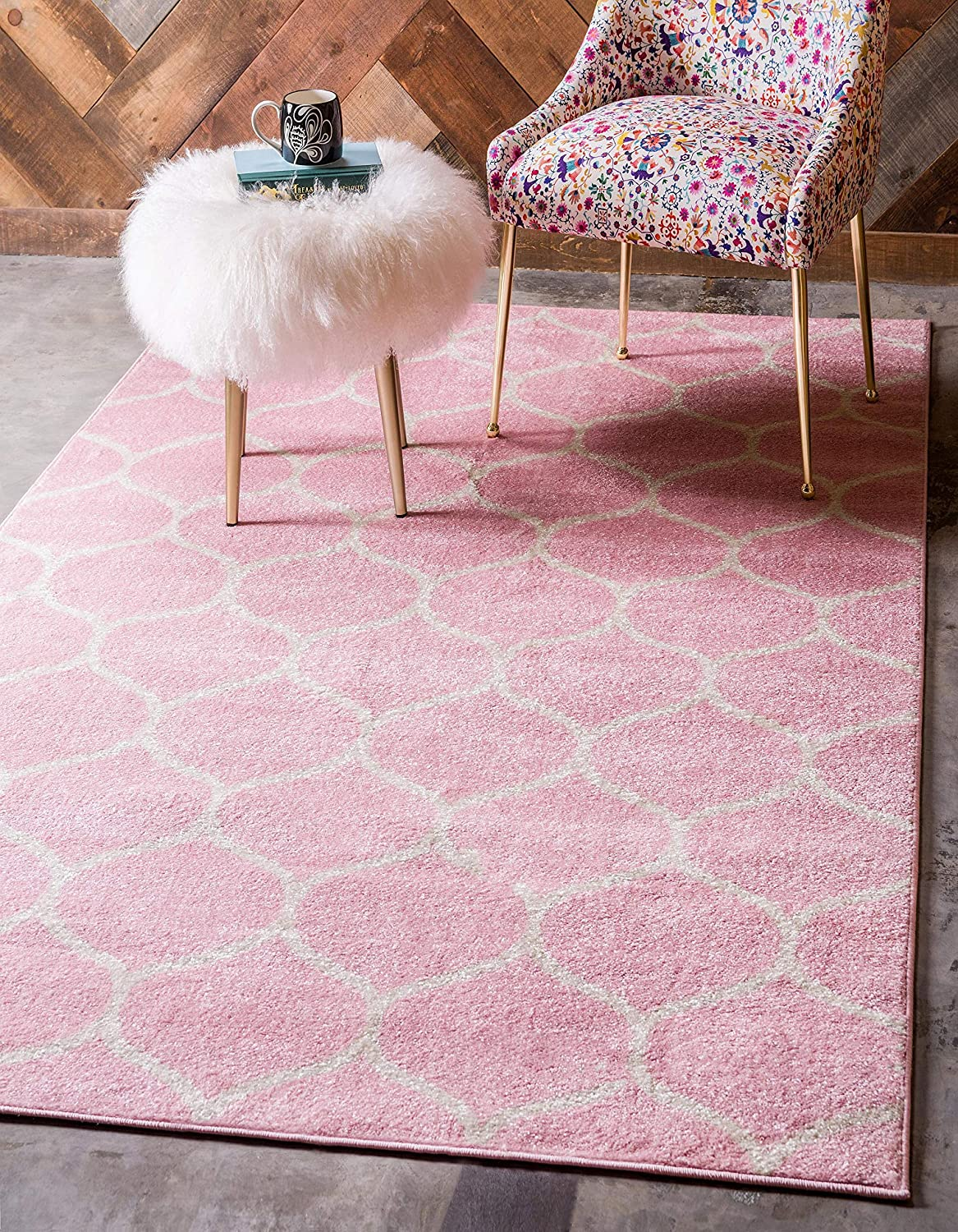 Unique Loom Trellis Frieze Collection Lattice Moroccan Geometric Modern Pink Area Rug (5' 0 x 8' 0)