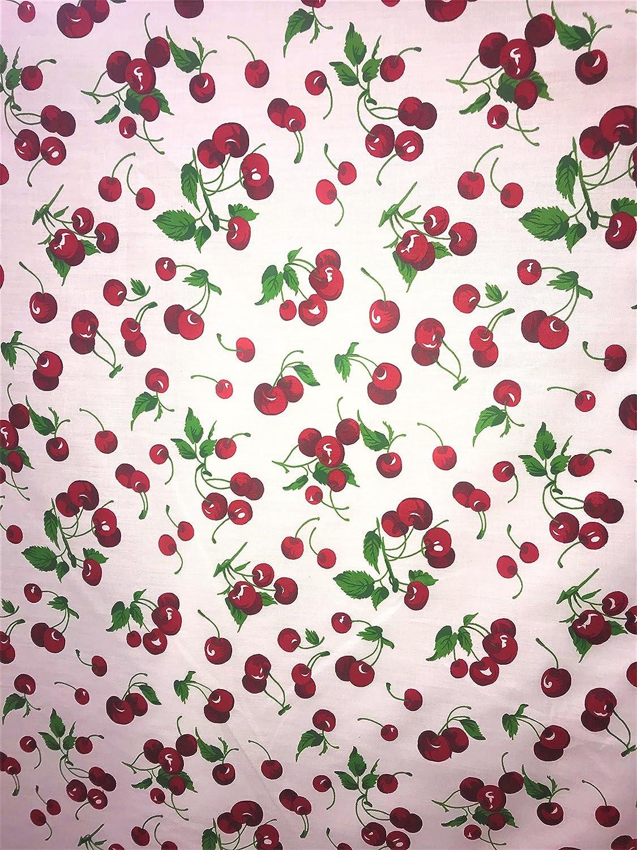Large Cherries on White Print 100/% Cotton Fabric