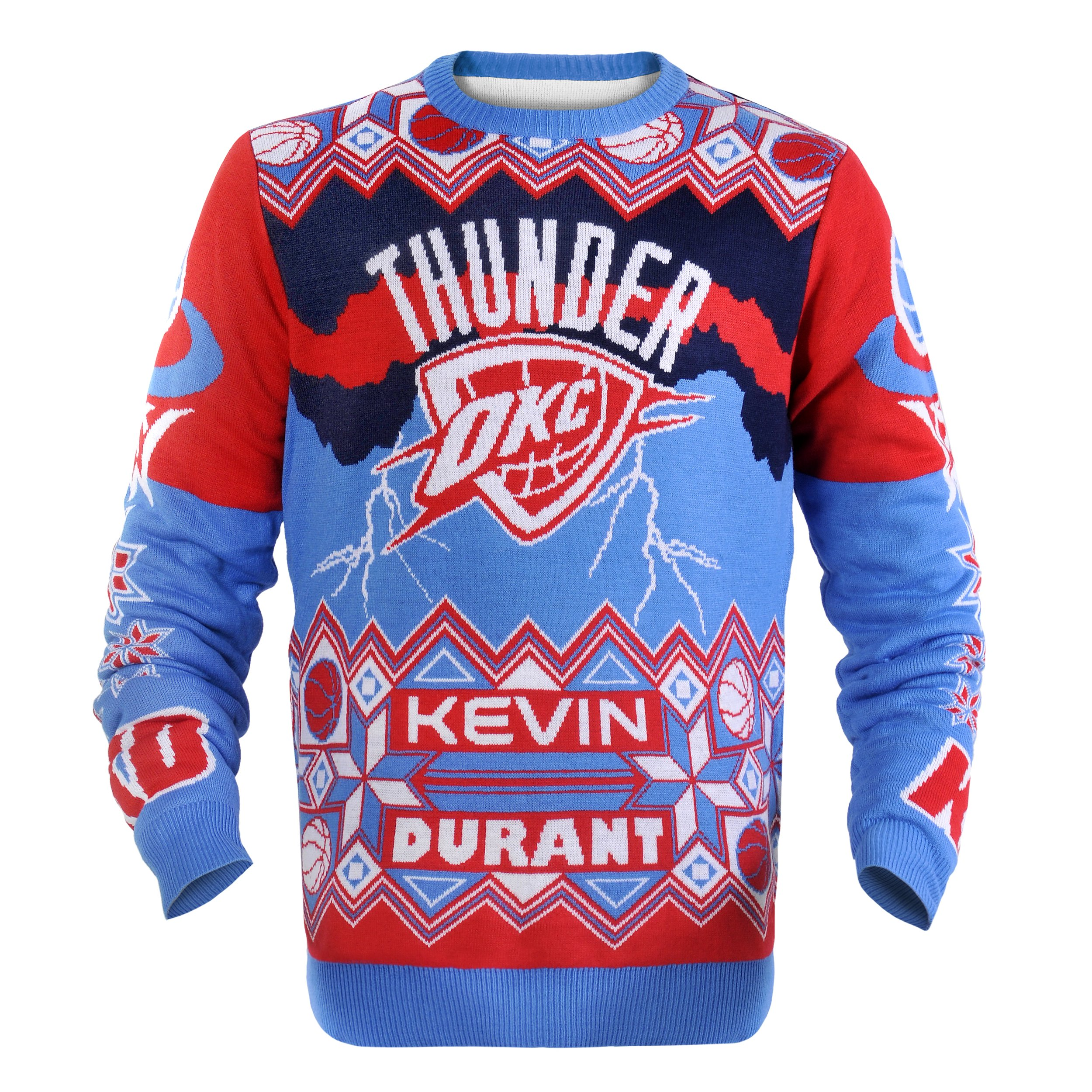 KLEW NBA Oklahoma City Thunder Kevin Durant #35 Ugly Sweater, Large, Orange