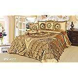 Tache 6 Piece Gold Caramel Latte Ruffle Comforter Quilt Set, King Size