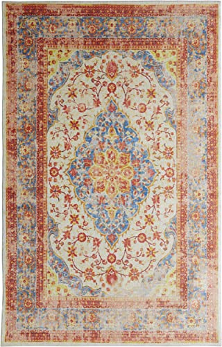Mohawk Home Prismatic Bellepoint Denim Floral Distressed Precision Printed Area Rug, 10 x14 , Multicolor