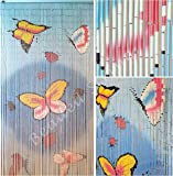 """BeadedString Bamboo Beaded Curtain-35.5"""" W x78 H-90 Strands-Hand Painted Natural Bamboo Wood Beaded Door Beads-Doorway Curtain-Butterfly-Blue"""