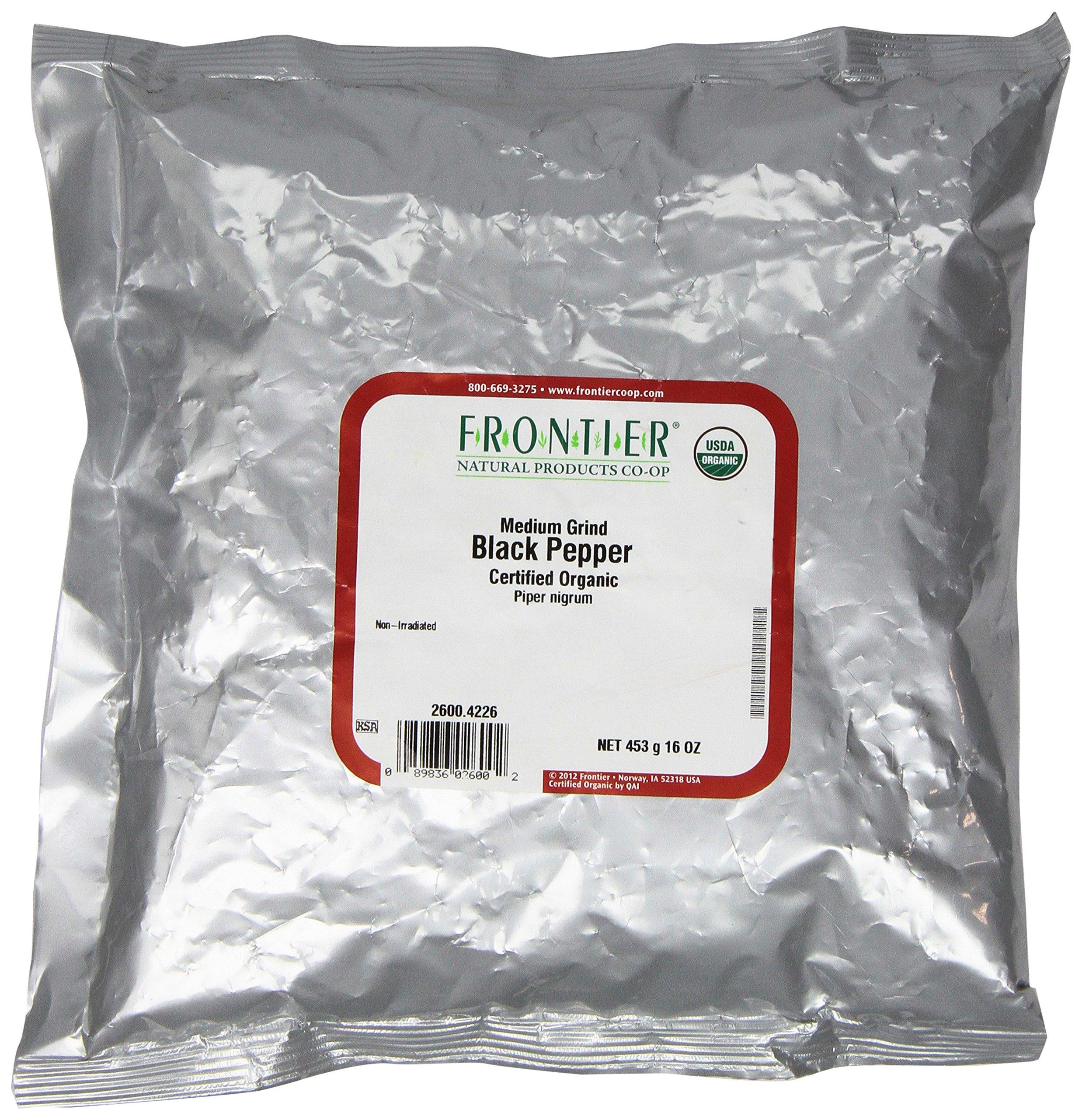 Frontier Pepper Black Medium Grind Organic, 1 Pound
