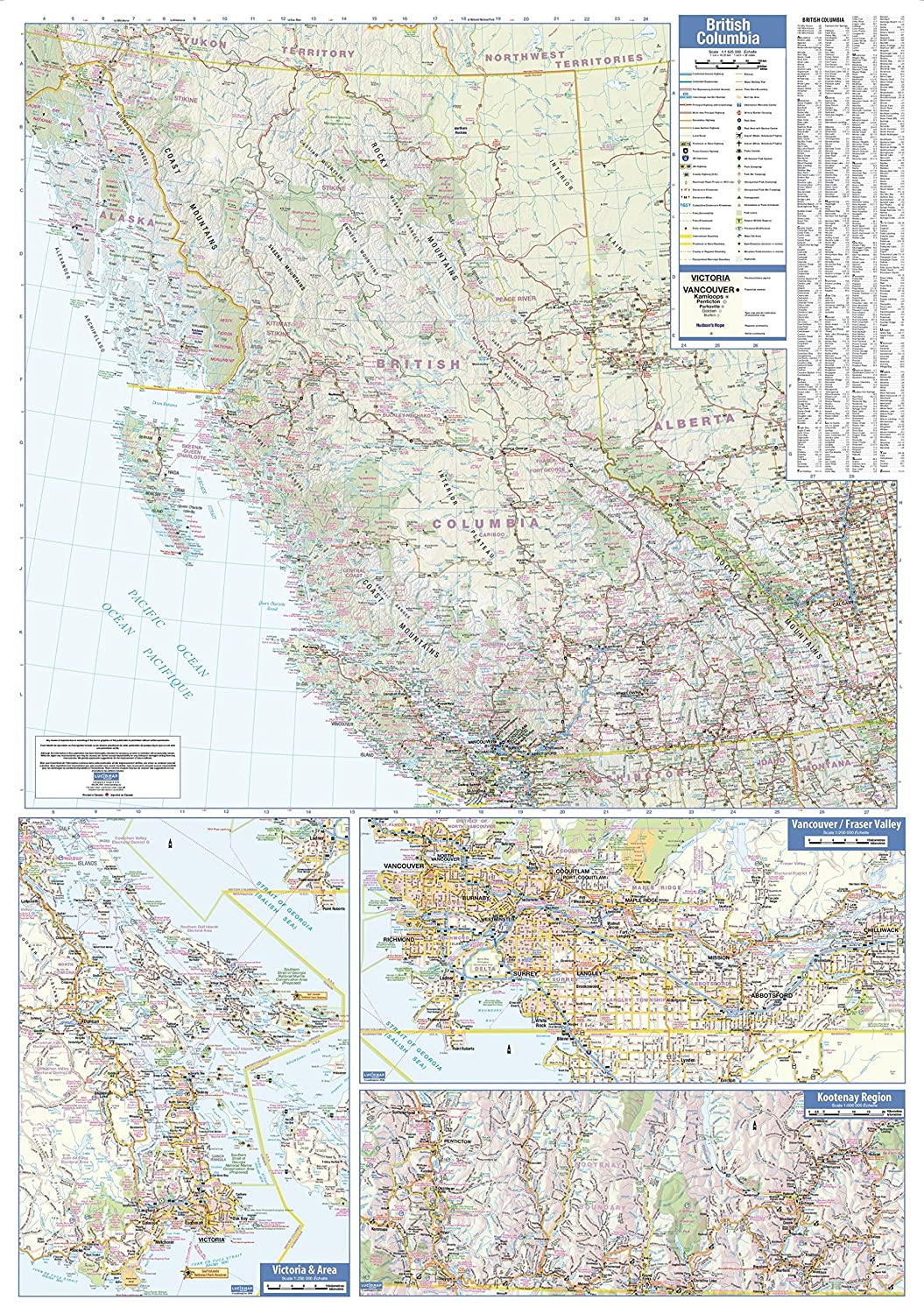 British Columbia Wall Map - Large - 38 x 54 Matte Plastic MapSherpa