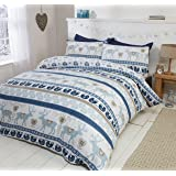 Scandi 100% Brushed Cotton Flannelette Quilt Duvet Cover and 2 Pillowcase Bedding Bed Set, Blue/Multi-Colour, Double