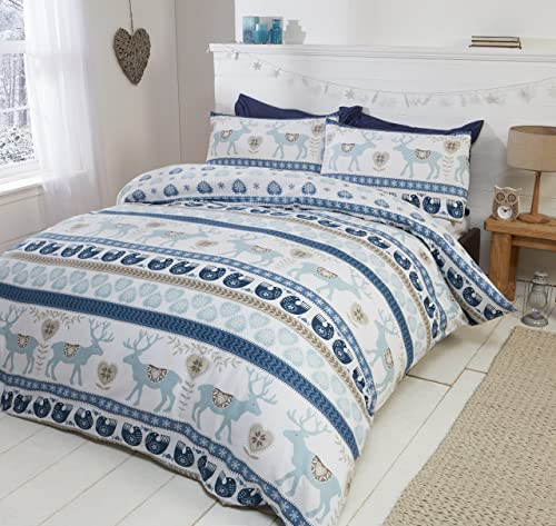 Scandi 100% Brushed Cotton Flannelette Quilt Duvet Cover and 2 Pillowcase Bedding Bed Set, Blue/Multi-Colour, King