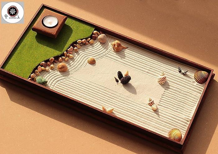 Ufficio Zen Garden : Giardino zen in miniatura o zen garden da tavolo in legno per
