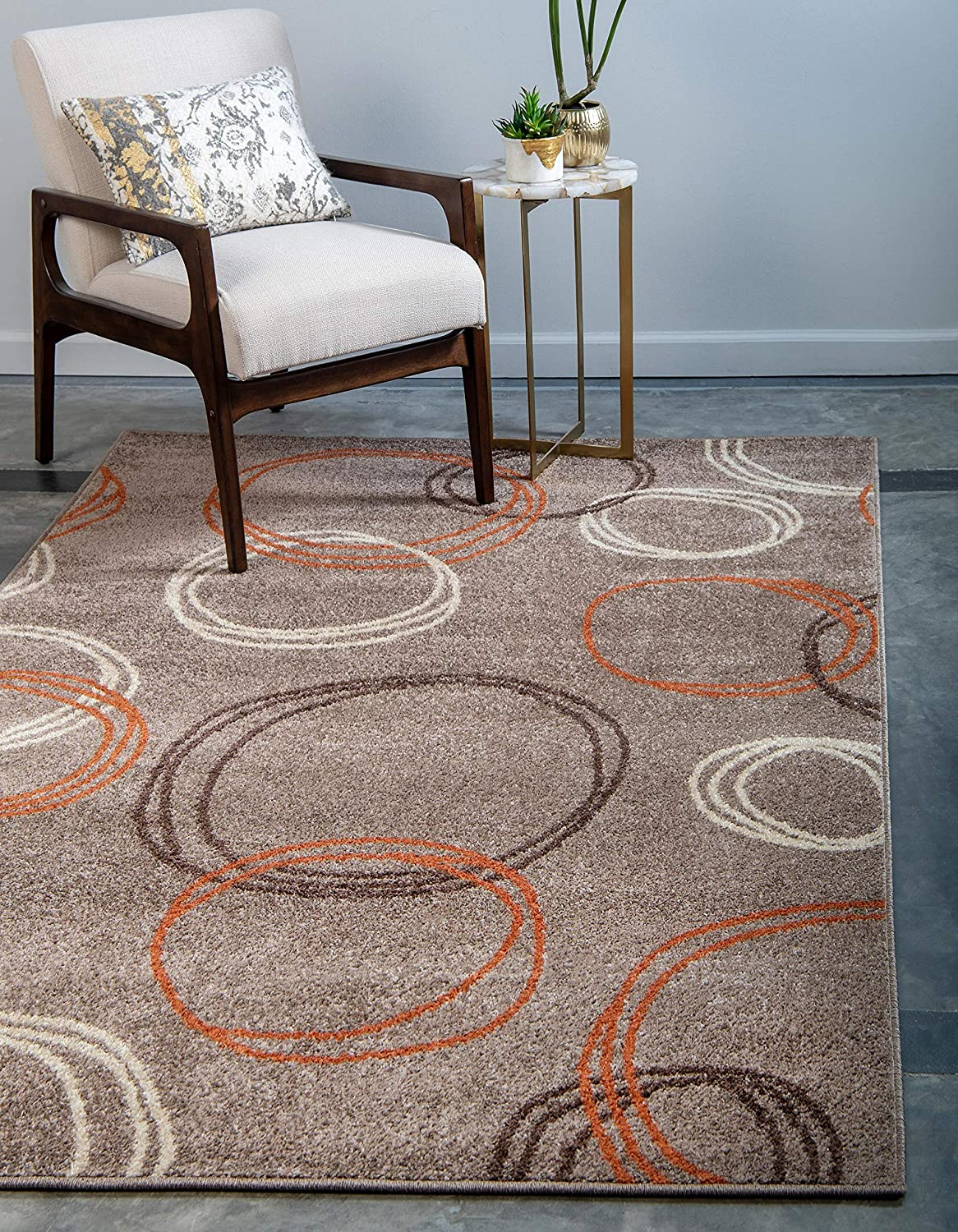 Unique Loom Autumn Collection Circles Casual Warm Toned Light Brown Area Rug 9 0 X 12 0 Furniture Decor