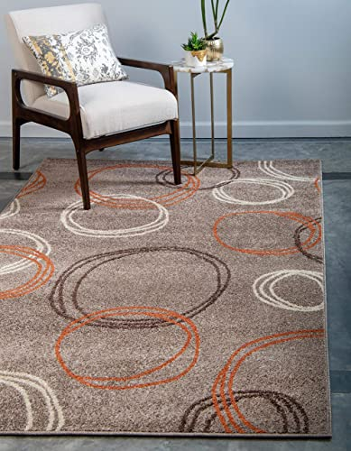 Unique Loom Autumn Collection Circles Casual Warm Toned Light Brown Area Rug 9' 0 x 12' 0