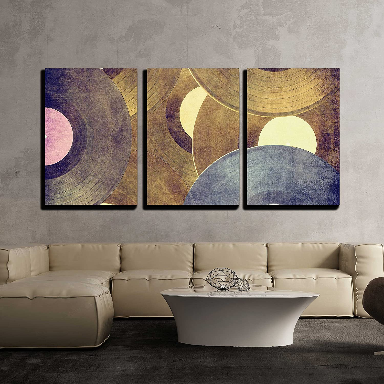 wall26-3 Piece Canvas Wall Art - Vinyl Records Music Background ...