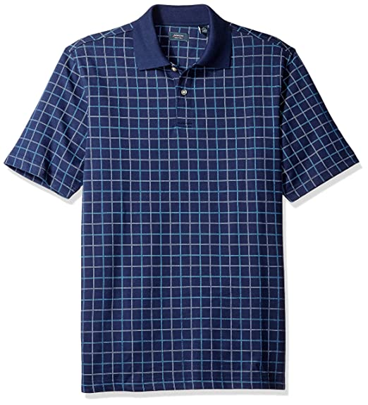c47ab89a25388 Arrow Men s Short Sleeve Printed Windowpane Oxford Polo Shirt ...