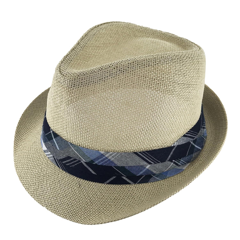 Faddism Unisex Ribbon Cuban Brim Fedora Hat Model 198
