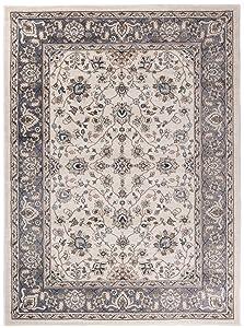 """Grande Tapis d'Orient - BLANC GRIS - Motif Persan Traditionnel et Oriental - Tapis de Salon Ultra Doux - """" AYLA """" - 200_x_300_cm"""