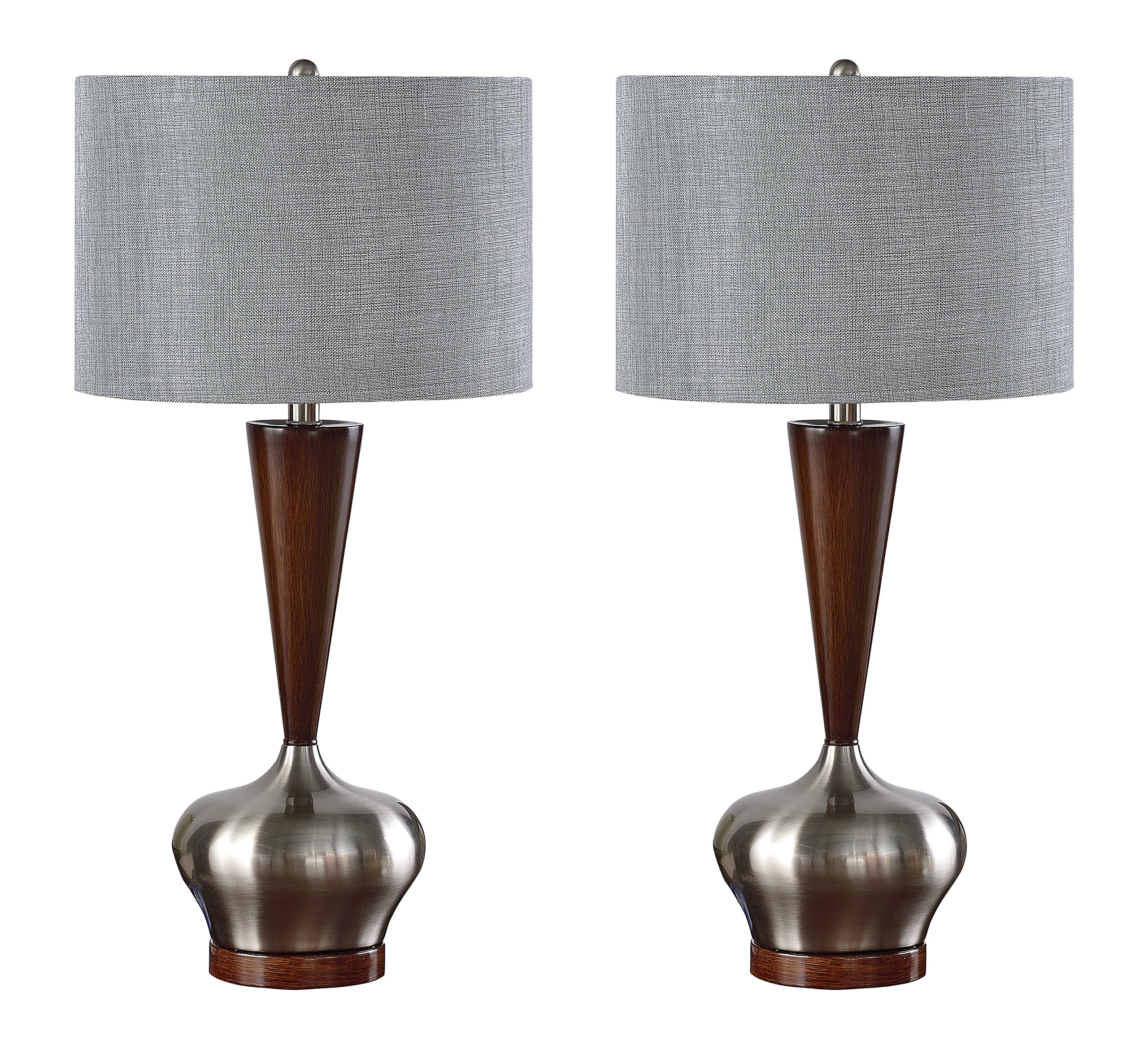 Kings Brand Brushed Nickel / Walnut Base With Silver Fabric Shade Table Lamps, Set of 2