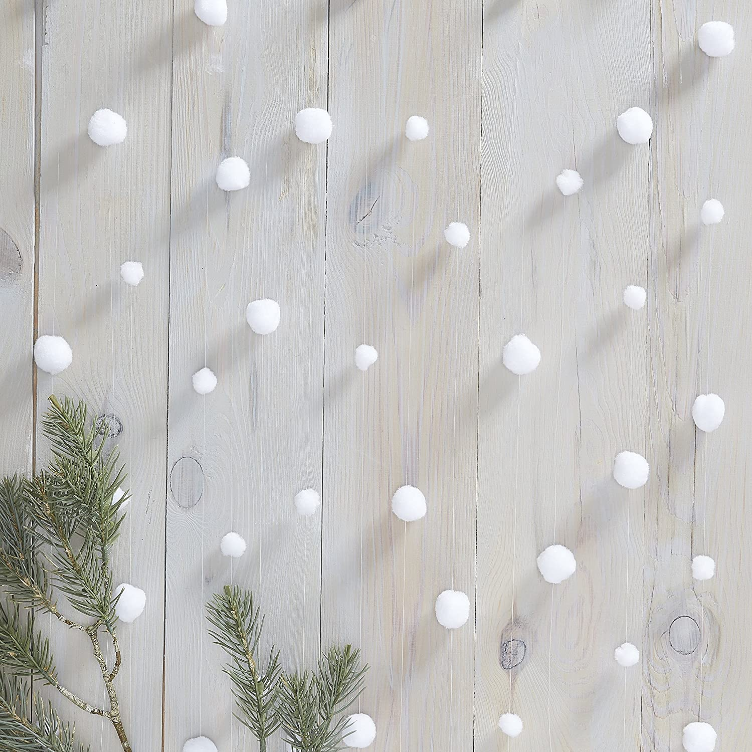 Ginger Ray White Snowball Christmas Garland Festive Room Party Decorations Bunting Banner - 6 Pack - Rustic Christmas