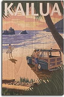 product image for Lantern Press Kailua, Hawaii - Woody on Beach (10x15 Wood Wall Sign, Wall Decor Ready to Hang)
