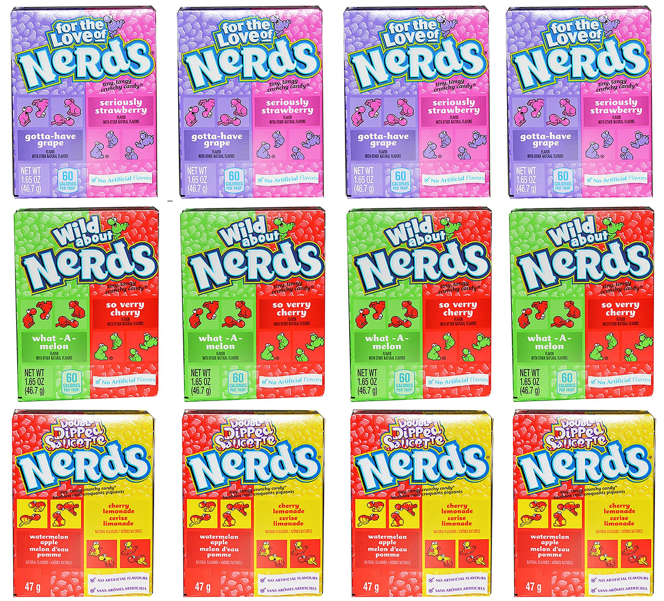 Nerds Variety Pack of 12 Nerds Cherry Watermelon, Strawberry Grape, and Watermelon Apple and Cherry Lemonade