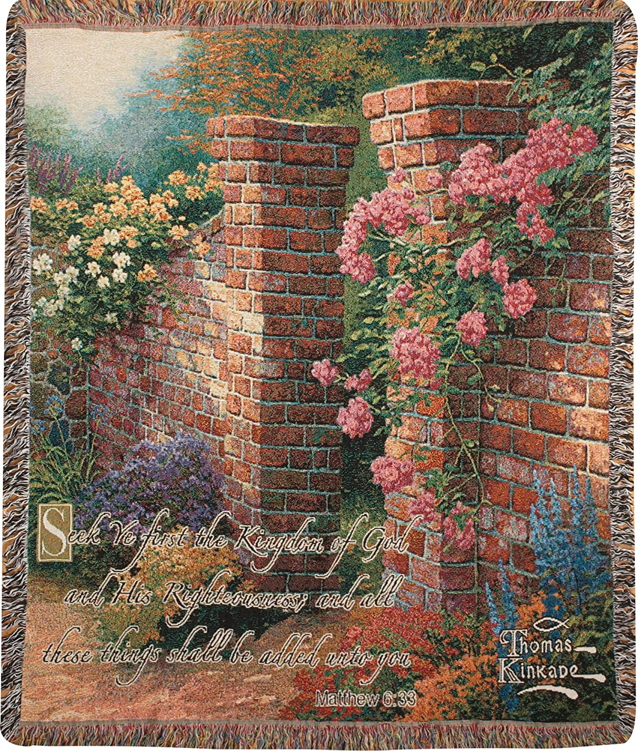 Manual Thomas Kinkade 50 x 60-Inch Tapestry Throw with Verse, Rose Garden
