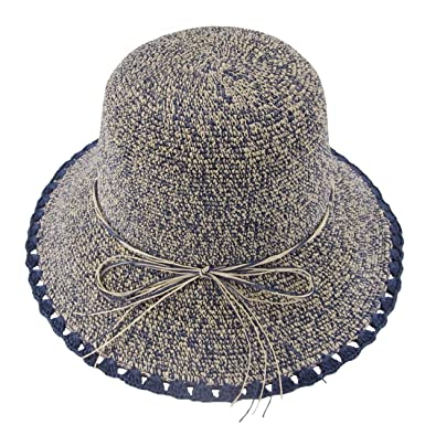 30c7cf6a1290b Ledamon Women s Straw Hat Wide Brim Floppy Sun Hat Beach Summer Travel Sun  Protection Hat Cap (Narrow Brim