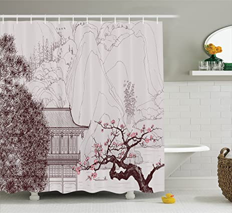 Asian Shower Curtain By Ambesonne Chinese Religion Temple Sakura Trees And Mountain Forms Pagoda Eastern