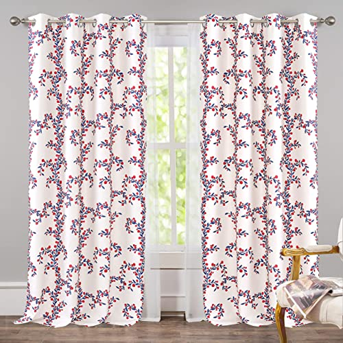 DriftAway Angelena Floral Botanical Pattern Energy Saving Thermal Insulated Blackout Window Curtain Grommet 2 Panels 2 Layers 52 Inch