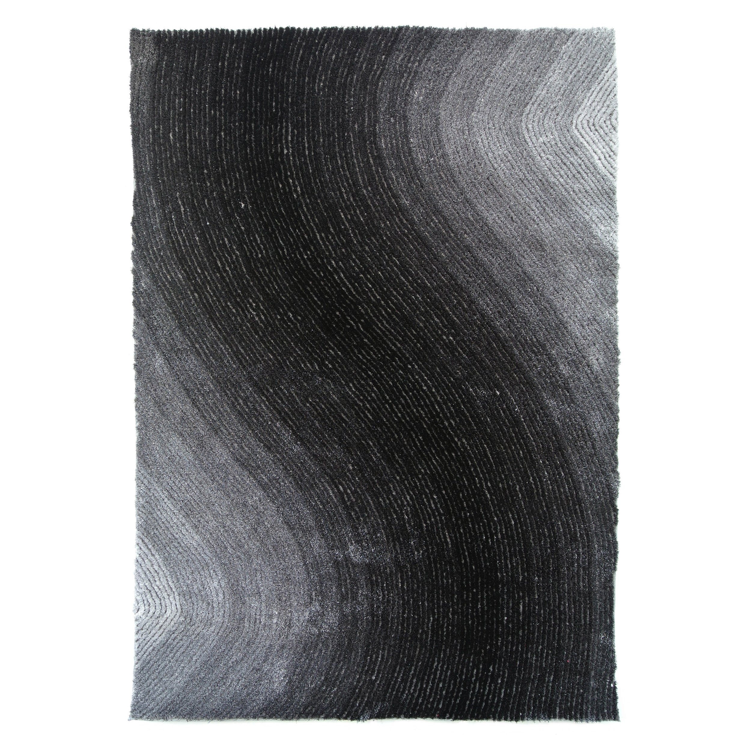 Blazing Needles Vibrating Light Gradated Shag Rug, 5-Feet by 7-Feet, Black/Gray by Blazing Needles (Image #1)