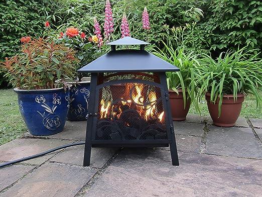 Pagoda Gas Fire Pit, llama Real GLP calentador de Patio, propano ...
