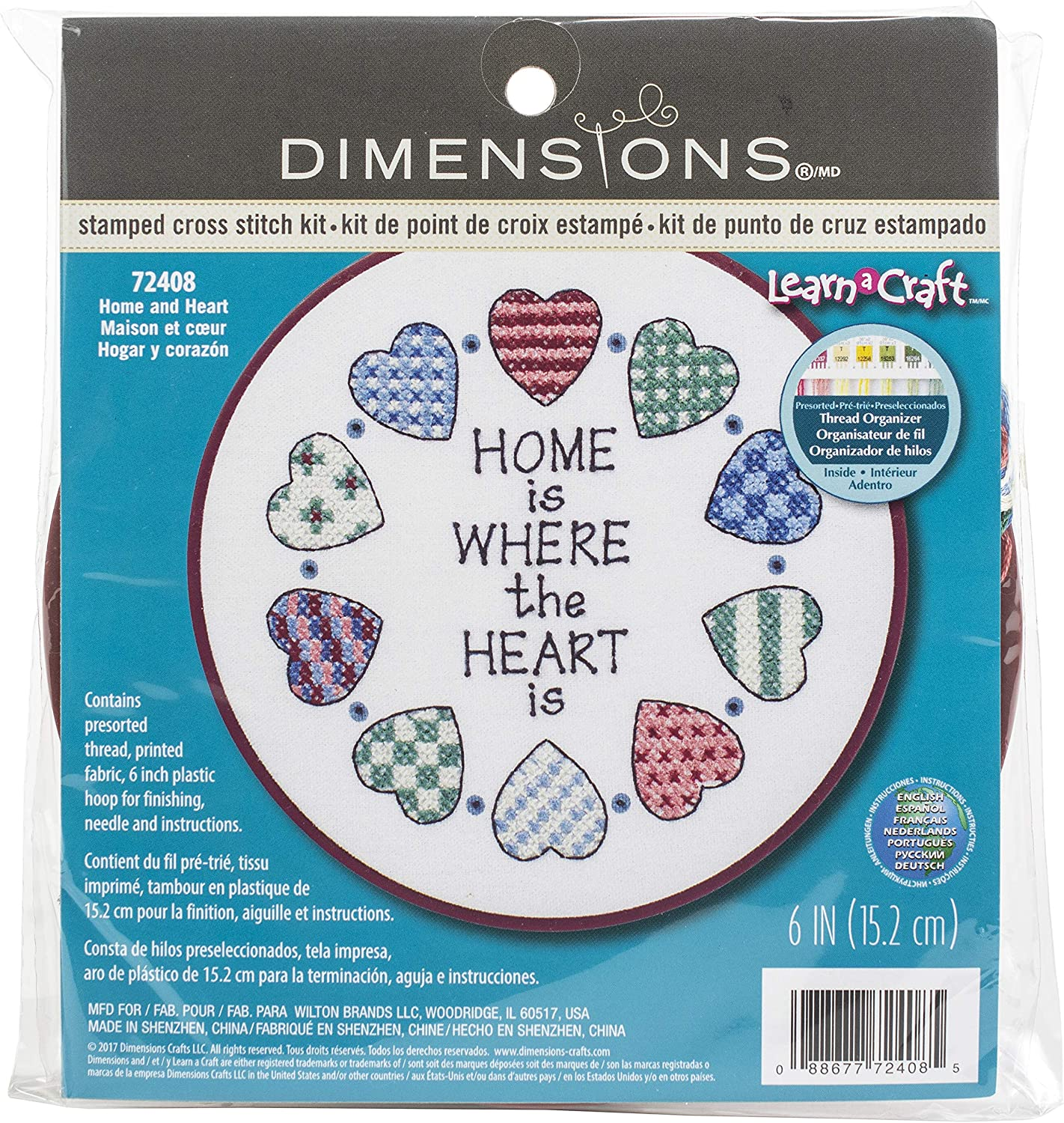 DIMENSIONS Learn-A-Craft Home and Heart Stamped Cross Stitch Kit-6 Inch x6 Inch
