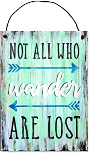 """Not All Who Wander Are Lost Wood Sign with Arrows by StudioR12 