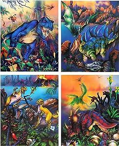T Rex Dinosaurs Triceratops Stegosaurus Kids Room Animal Four Set 16x20 Wall Decor Art Print Poster