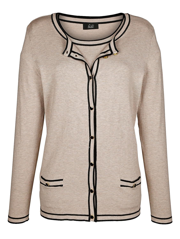 Paola Damen Klassisches Twinset Pullover Jacke Feinstrick Langarm Rundhals Taschen eingearbeiteten Details