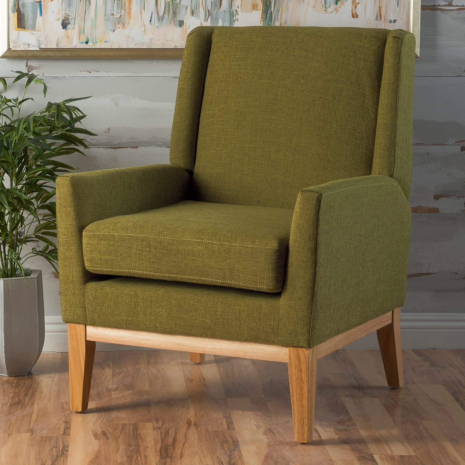 Christopher Knight Home 299399 Aurla Mid-Century Fabric Accent Chair, Green